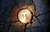 Shiny Golden Tether Cryptocurrency Coin On Dry Earth Dessert Background Mining Crash Photo Compositi poster
