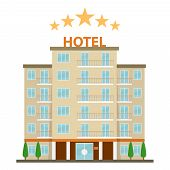 Hotel, Hotel Icon. Five-star Hotel On A White Background. Flat Design, Vector Illustration, Vector. poster