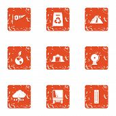 Exchange Of Ecology Icons Set. Grunge Set Of 9 Exchange Of Ecology Vector Icons For Web Isolated On  poster