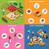 Kids Outdoor Games, Equipment Of Play Ground, Child In Care, Private Kindergarten, Isometric Concept poster