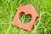 Sweet House In The Grass. Concept Of Eco House, Cottage. Symbol Of  House With Heart On Green Summer poster