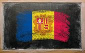 Flag Of Andora On Blackboard Painted With Chalk