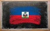 Flag Of Haiti On Blackboard Painted With Chalk