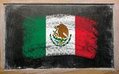 Flag Of Mexico On Blackboard Painted With Chalk