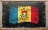 Flag Of Moldova On Blackboard Painted With Chalk