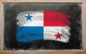 Flag Of Panama On Blackboard Painted With Chalk