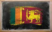 Flag Of  Srilanka On Blackboard Painted With Chalk