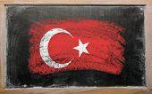 Flag Of Turkey On Blackboard Painted With Chalk
