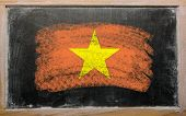 Flag Of Vietnam On Blackboard Painted With Chalk