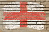 Flag Of England On Grunge Brick Wall Painted With Chalk