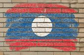 Flag Of Laos On Grunge Brick Wall Painted With Chalk