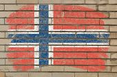 Flag Of Norway On Grunge Brick Wall Painted With Chalk