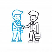 Making A Deal Line Icon, Vector Illustration. Making A Deal Linear Concept Sign. poster