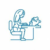 Online Chatting Line Icon, Vector Illustration. Online Chatting Linear Concept Sign. poster