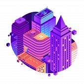 Vector City Isometric Concept Isolated On White Background. High-rise City Buildings In Gradient Col poster