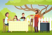 Happy Family Eating Barbecue Outdoor. Man, Woman And Kids Cooking And Grilling On Summer Holiday. Ba poster