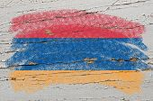 Flag Of Armenia On Grunge Wooden Texture Painted With Chalk