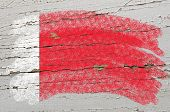 Flag Of Bahrain On Grunge Wooden Texture Painted With Chalk