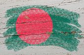 Flag Of Bangladesh On Grunge Wooden Texture Painted With Chalk