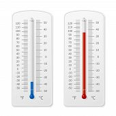 Meteorology Indoor Thermometer Realistic Vector Illustration Isolated. Temperature Scale Instrument, poster