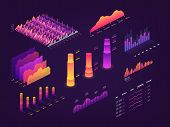 Futuristic 3d Isometric Data Graphic, Business Charts, Statistics Diagram And Infographic Vector Ele poster