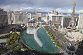 LAS VEGAS, NEVADA - OCT 6: Bellagio, Caesars Palace, Paris and other resorts on the strip on October