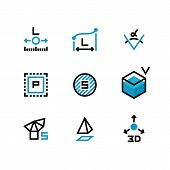 Square Area, Size, Surface Areas, 3d Dimension, Angle And Perimeter Measuring Vector Icons Isolate.  poster