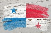 Flag Of Panama On Grunge Wooden Texture Painted With Chalk