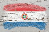 Flag Of Paraguay On Grunge Wooden Texture Painted With Chalk
