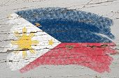 Flag Of Phillipines On Grunge Wooden Texture Painted With Chalk