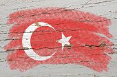 Flag Of Turkey On Grunge Wooden Texture Painted With Chalk