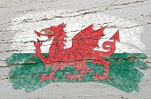Flag Of Wales On Grunge Wooden Texture Painted With Chalk
