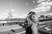 Girl Traveler With Blond Hair At Eiffel Tower In Paris, France On Sunny Summer Day Outdoor. Architec poster