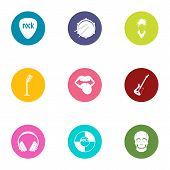 Rock Band Icons Set. Flat Set Of 9 Rock Band Vector Icons For Web Isolated On White Background poster