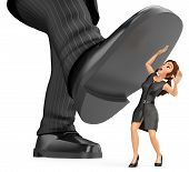 3d Business People Illustration. Businesswoman Under A Giant Foot Of Man. Abuse Of Power, Bullying A poster