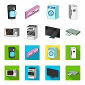 Home Appliances And Equipment Cartoon, Flat Icons In Set Collection For Design.modern Household Appl poster