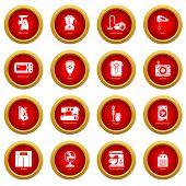 Domestic Appliances Icons Set. Simple Illustration Of 16 Domestic Appliances Vector Icons For Web poster