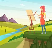 Artist In Nature Making Picture. Artist Paint Brush, Paintbrush Artistic, Painter And Easel, Vector  poster