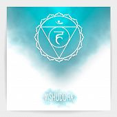 Fifth, Throat Chakra - Vishuddha. Illustration Of One Of The Seven Chakras. The Symbol Of Hinduism,  poster
