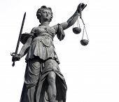 stock photo of justice  - Statue of Lady Justice from Frankfurt on white - JPG