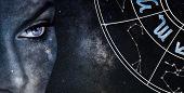 Scorpio Horoscope Sign. Astrology Women Night Sky Background poster