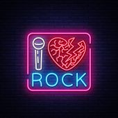 I Love Rock Neon Signboard. Rock Music Neon Sign, Symbol, Bright Icon, Design Element Of Rock And Ro poster