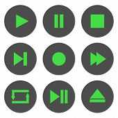 Media Player Control Buttons Set. Play, Pause, Stop, Record, Forward, Rewind, Previous, Next, Eject, poster