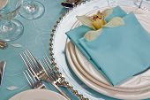 picture of wedding table decor  - Cymbidium Orchid Table Set with charger plate - JPG