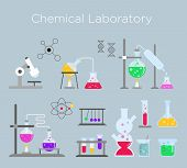 Vector Illustration Set Of Chemical Laboratory Equipment. Chemical Glass With Various Chemical Solut poster