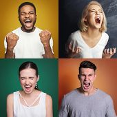 Collage Of Different Aggressive Men And Women Screaming On Colorful Studio Backgrounds. Desperate Pe poster