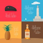 Set Of Vector Illustrations With Cuban Symbols And Landmarks - Morro Castle, Che Guevara Cap, Rum. D poster