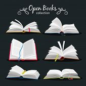 Open Books. New Open Book Set With Bookmark Between Pages For Encyclopedia And Notebook, Dictionary  poster