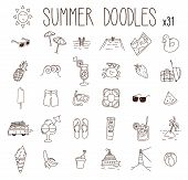 Set Of 31 Summer Drawings. Vector Doodle Hand Drawn Icons. Beach, Vacations, Seasonal Food And Drink poster