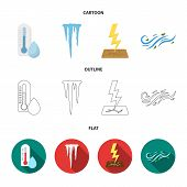 Humidity, Icicles, Thunderbolt, Windy Weather. Weather Set Collection Icons In Cartoon, Outline, Fla poster